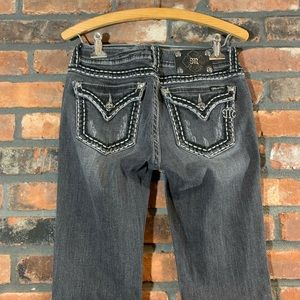 Miss Me Gray Flap Pocket Distressed Bootcut Jeans